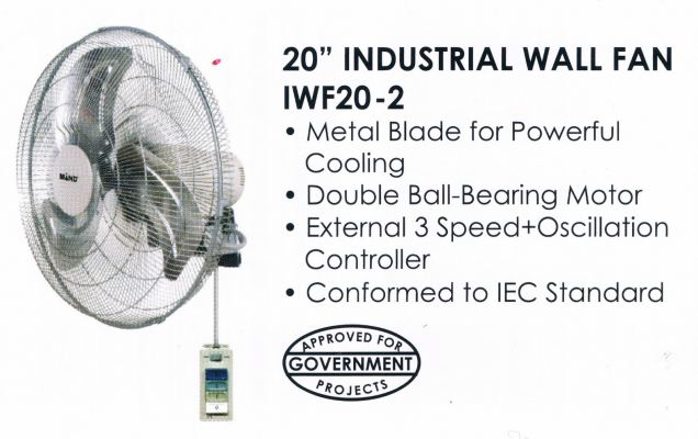 "MIND IWF20-2 20"" HEAVY DUTY INDUSTRIAL WALL FAN"
