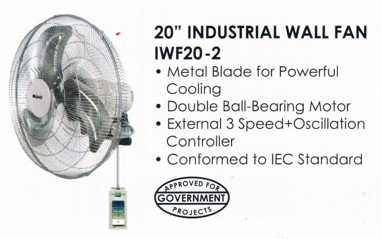 "MIND IWF20-2 20"" HEAVY DUTY INDUSTRIAL WALL FAN  Industries Fan Electric Fan"