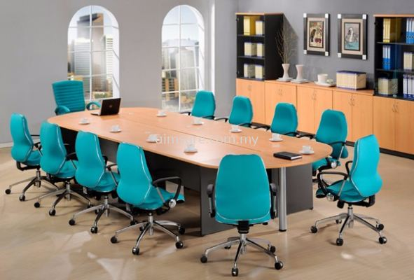 Oval conference table with wooden leg and pole leg - join table
