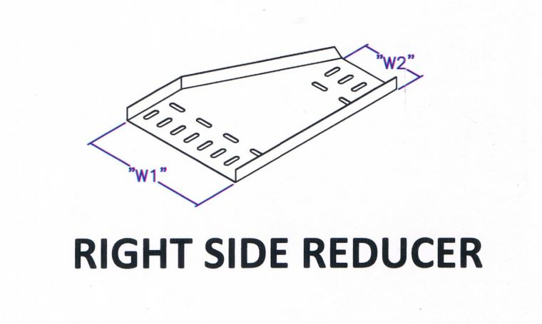 Straight Edge Perforated Cable Tray Fitting - Right Side Reducer Cable Tray Cable Support Systems