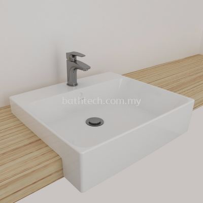 Gemelli Square Semi Recessed Basin 550 x 480-1 TH