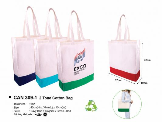 CAN 309-1 2 Tone Cotton Bag