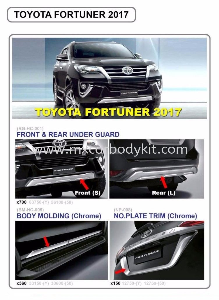 2017 TOYOTA FORTUNER FRONT & REAR BUMPER GUARD FORTUNER 2015 - 2018 TOYOTA
