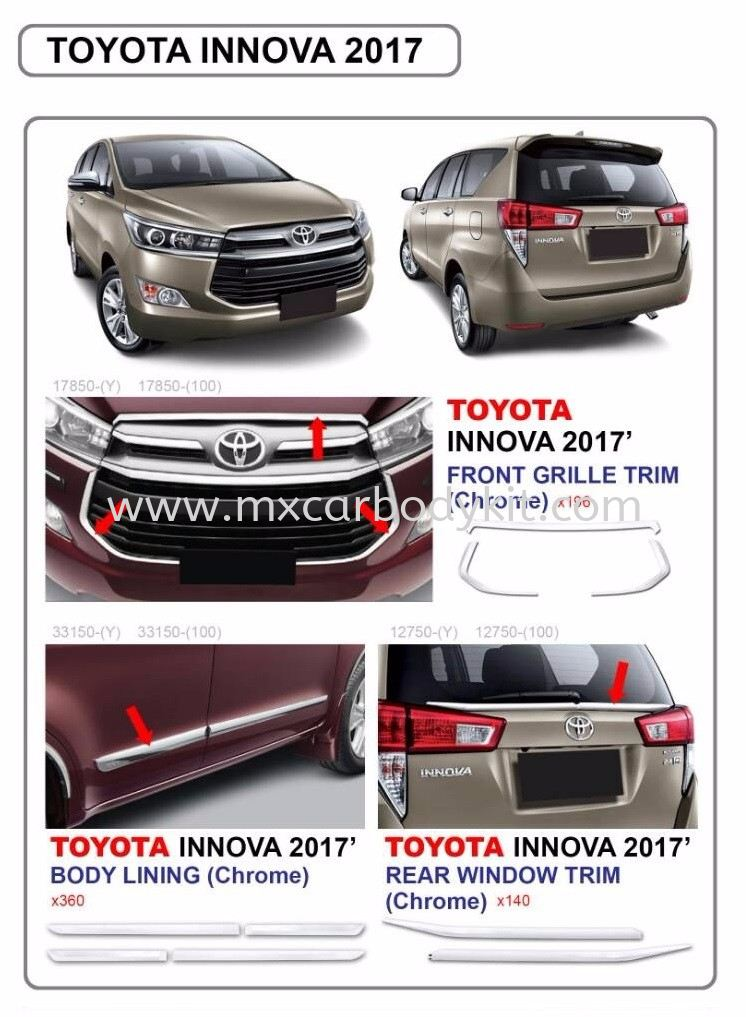 2017 TOYOTA INNOVA ACCESSORIES PARTS (CHROME) INNOVA 2017 TOYOTA