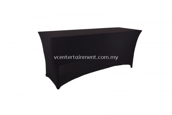 Black Spandex Oblong Table Skirting 2x6