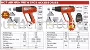 Hot Air Gun with 6pcs Accessories Heat Gun Power Tools