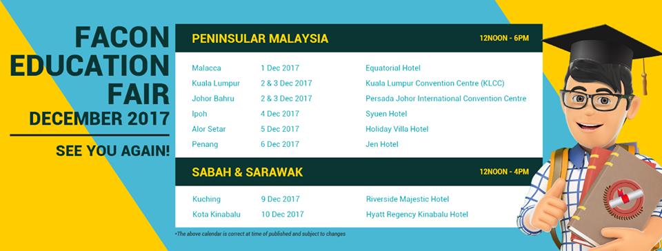 Facon Education Fair - Alor Setar , Kedah December 2017 Year 2017 Past Listing