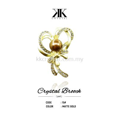 Crystal Brooch, 15#, MATTE GOLD