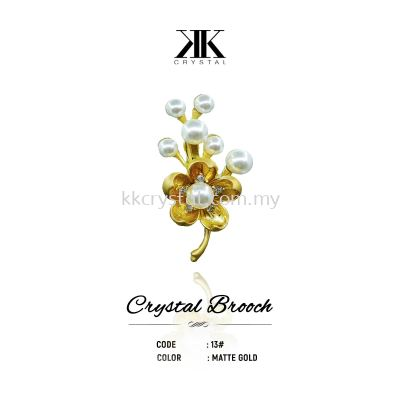 Crystal Brooch, 13#, MATTE GOLD