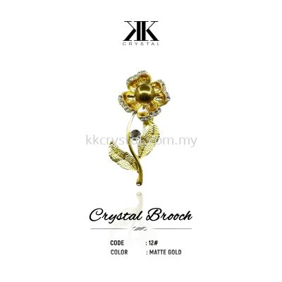 Crystal Brooch, 12#, MATTE GOLD