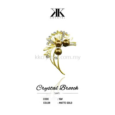 Crystal Brooch, 16#, MATTE GOLD