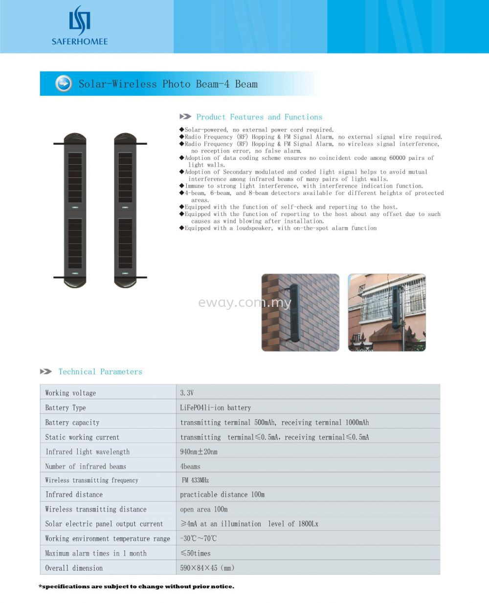 Solar-Wireless PhotoBeam-4 Beam Sensor - Catalogue Accessories for