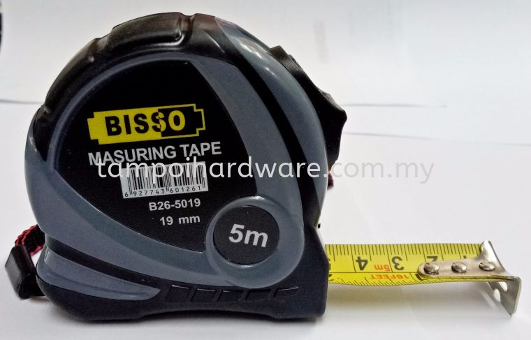 Bisso Measuring Tape With Rubber Cover 5M Measuring Tools Hand Tools