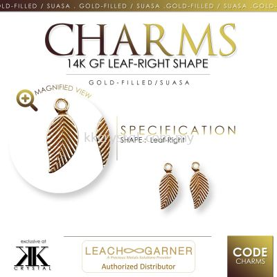 Suasa (Gold Filled), Charm, Leaf-Right, 4pcs/pack