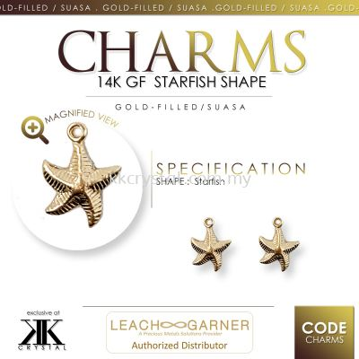 Suasa (Gold Filled), Charm, Starfish, 4pcs/pack