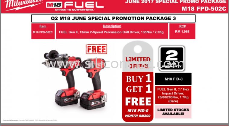Milwaukee M18 Percussion Drill Offer Package