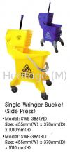 SWB-386 YELLOW & BLUE SINGLE WRINGER BUCKET CLEANING TROLLEYS