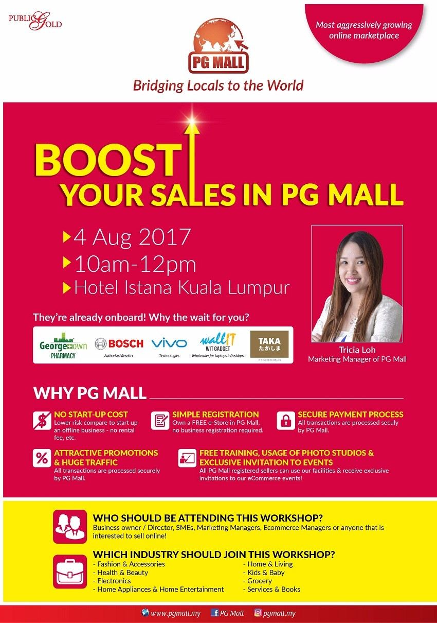 Boost Your Sales in PG Mall - KL August 2017 Year 2017 Past Listing