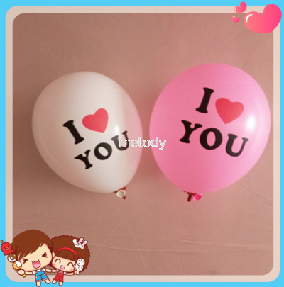"""I Love You"" Word Print Latex Balloons 100's"