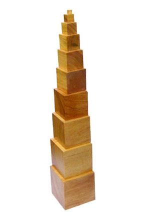 Tower of Cubes (Natural finish tower) (SM010-B) Sensorial Montessori, Materials, Supplier, Supply  ~ D'Argosy Educational Equipment (M) Sdn Bhd