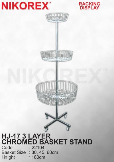 22104-HJ-17 3L  CHROMED BASKET STAND