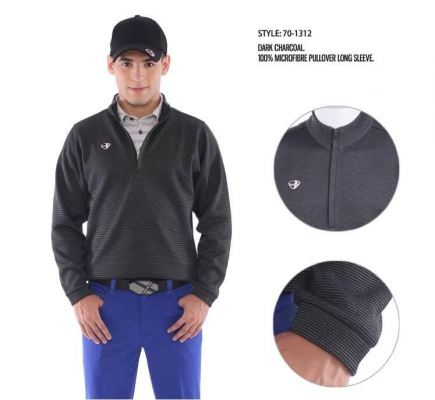 Dark Charcoal Microfiber Pullover Long Sleeve