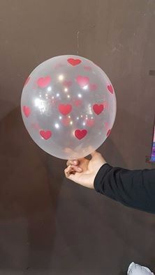 12 Inch Transparent Balloon Love Red Dot (10pcs)