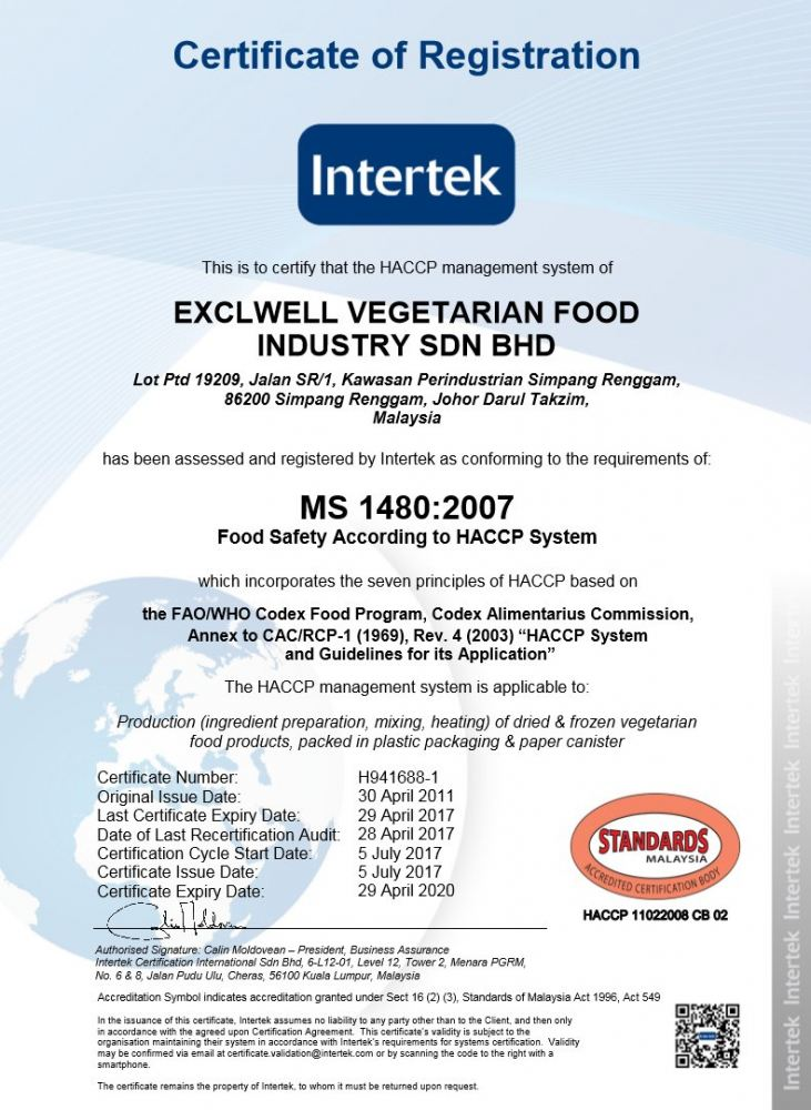 HACCP FOOD SAFETY SYSTEM CERTIFIED