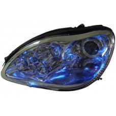 W220 Head Lamp Chrome Rim W/Light Point ( Blue , White )