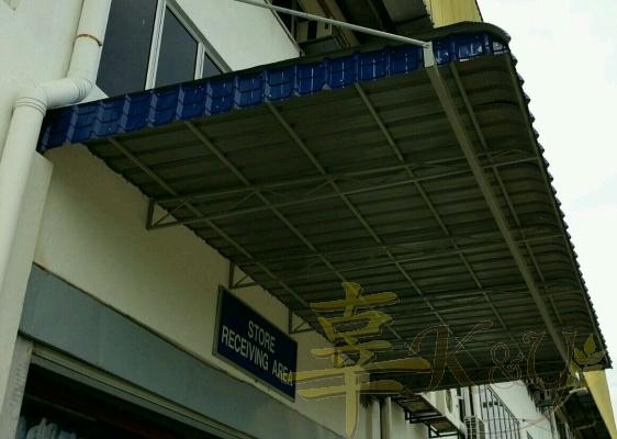 Mild Steel Metal Deck Awning Blue Color