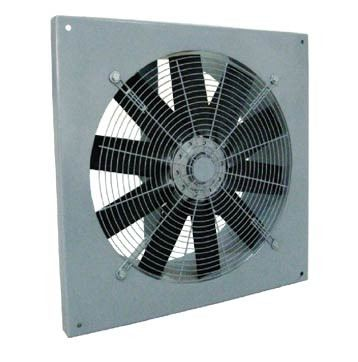 Wall mounted adjustable pitch angle axial fan