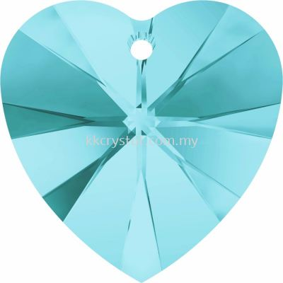 Swarovski 6228 Xilion Heart Pendant, 14.4x14mm, Light Turquoise (263), 2pcs/pack