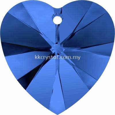Swarovski 6228 Xilion Heart Pendant, 14.4x14mm, Sapphire (206), 2pcs/pack