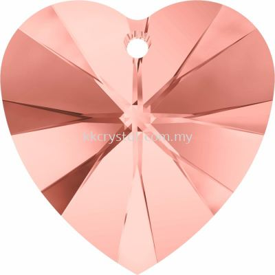 Swarovski 6228 Xilion Heart Pendant, 14.4x14mm, Rose Peach (262), 2pcs/pack