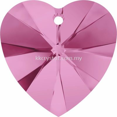 Swarovski 6228 Xilion Heart Pendant, 14.4x14mm, Rose (209), 2pcs/pack