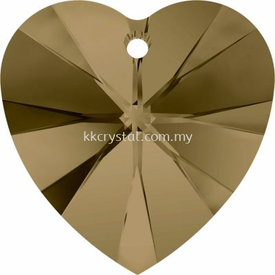 Swarovski 6228 Xilion Heart Pendant, 18x17.5mm, Crystal Bronze Shade (001 BRSH), 1pcs/pack