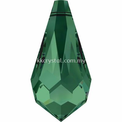 Swarovski 6000 Drop Pendants, 11x5.5mm, Emerald (205), 4pcs/pack