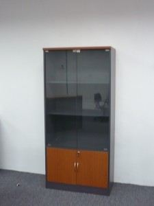 BOOK SHELF & GLASS DOOR CABINET