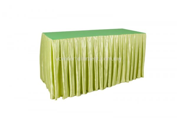 Green Normal Oblong Table Skirting 2x5