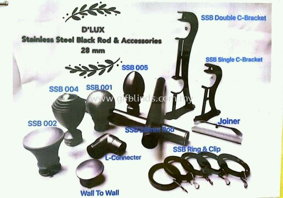 Stainless Steel Black Rod & Accessories 28mm