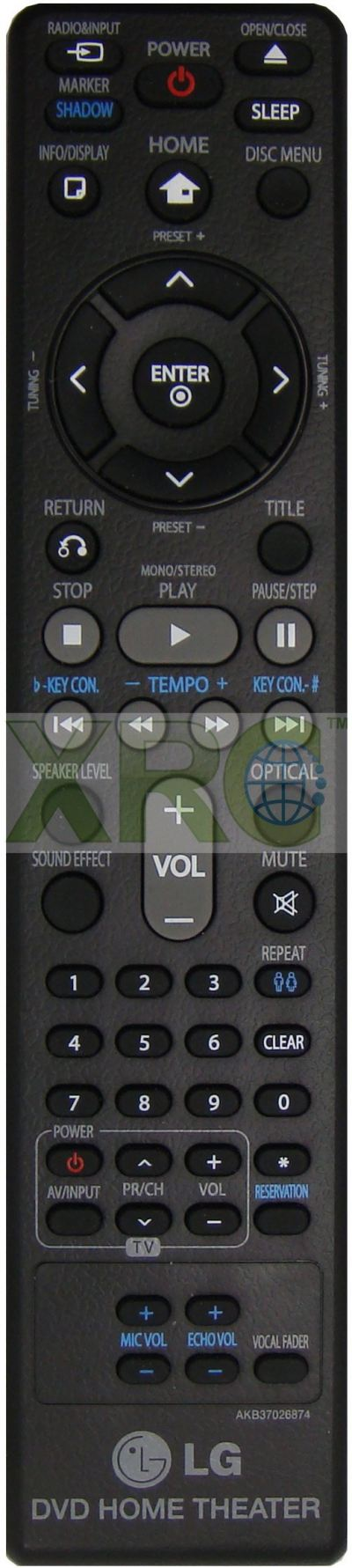 AKB37026874 LG HOME THEATER REMOTE CONTROL