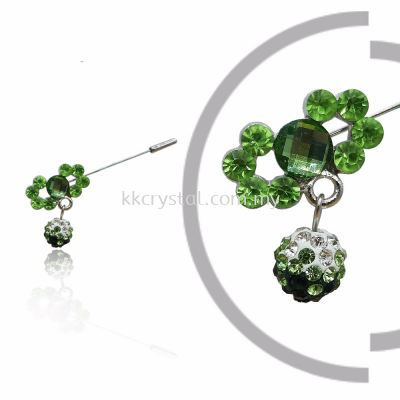 Pin Brooch 7012#, Green Olivine, 2pcs/pack