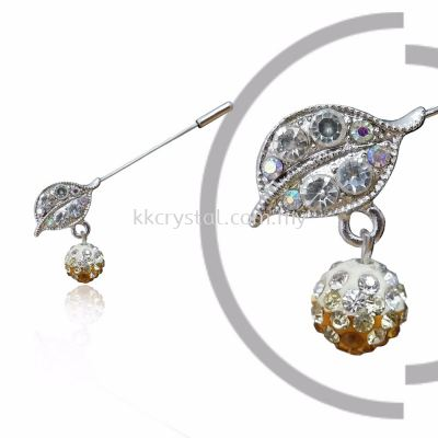 Pin Brooch 7014# (Leaf), Gold Topaz, 2pcs/pack