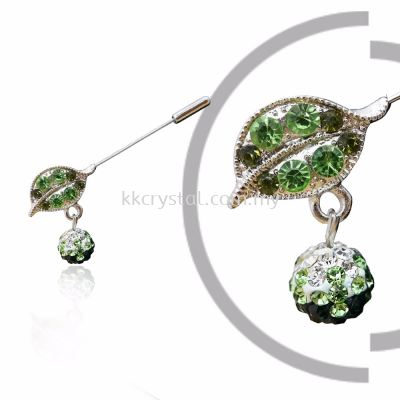 Pin Brooch 7014# (Leaf), Green Olivine, 2pcs/pack