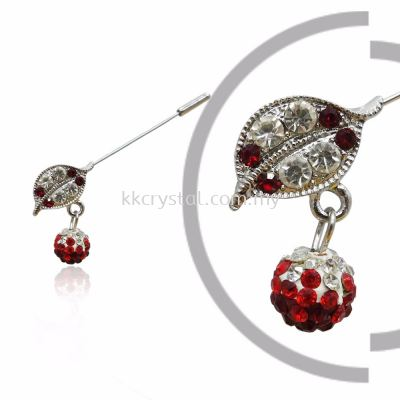 Pin Brooch 7014# (Leaf), Red Light Siam, 2pcs/pack