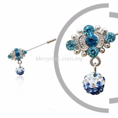Pin Brooch 7015#, Blue, 2pcs/pack