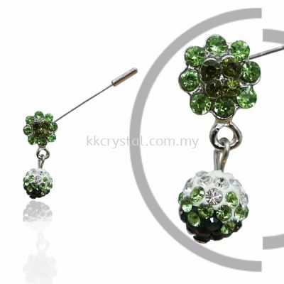 Pin Brooch 7019#, Green Olivine, 2pcs/pack