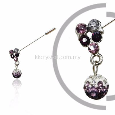 Pin Brooch 7023#, Purple Amethyst, 2pcs/pack