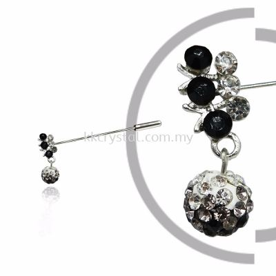 Pin Brooch 7031#, Black, 2pcs/pack