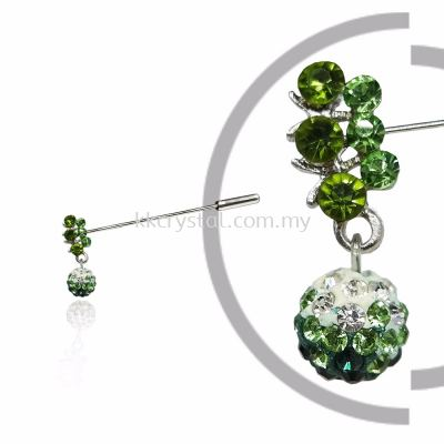 Pin Brooch 7031#, Green Olivine, 2pcs/pack